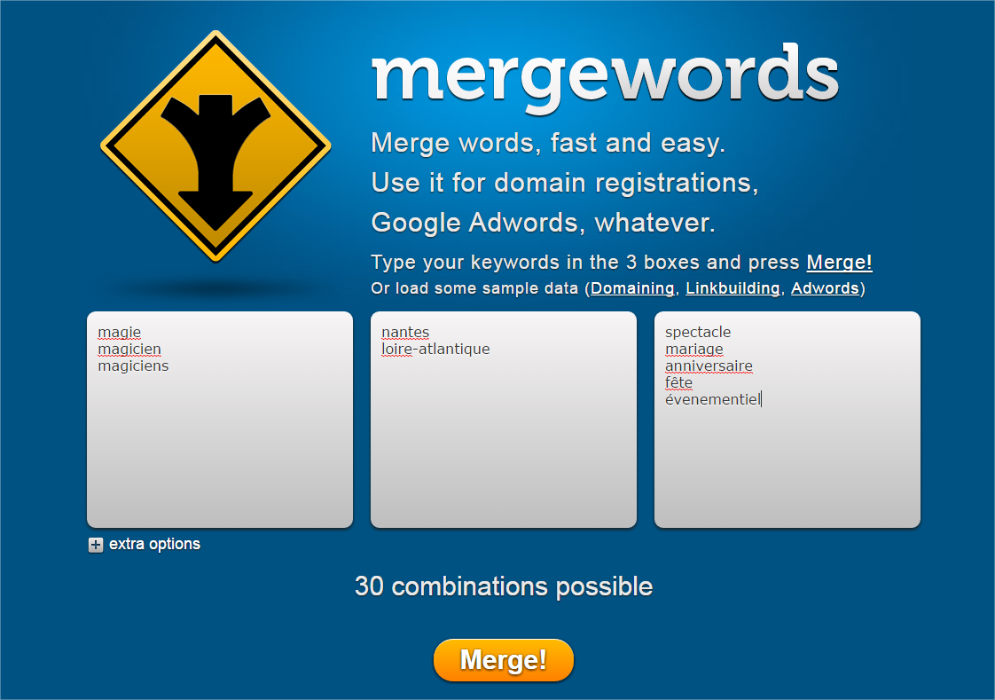 Mergewords : initialisation de la requête